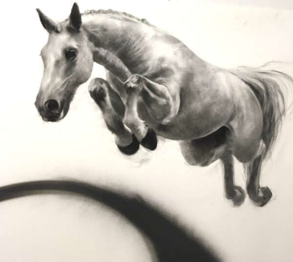 Dreamboat, 88cm x 100cm, charcoal and spray paint on watercolour paper