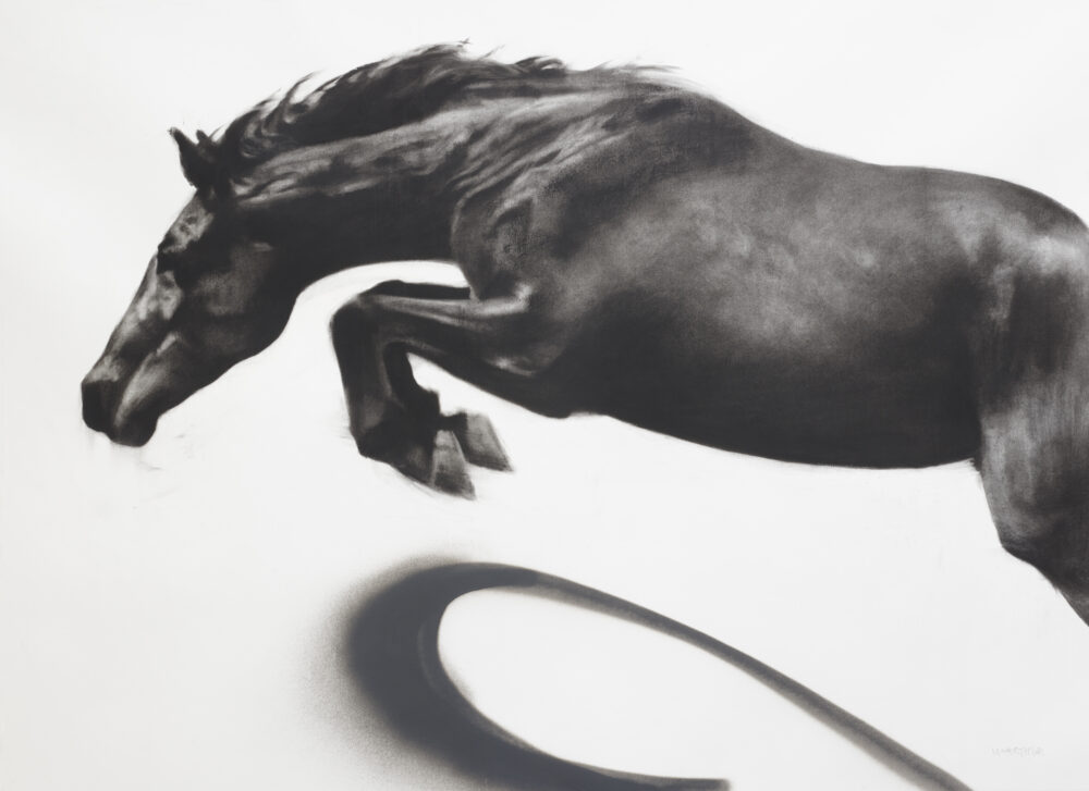 Momentum, 90cm x 115cm, charcoal and spray paint on paper