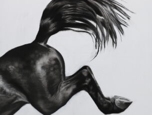 Over The Edge II, charcoal and gesso on board, 60cm x 60cm