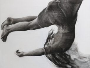 Tumble I, 76cm x 76cm, Charcoal and gesso on panel, 2018