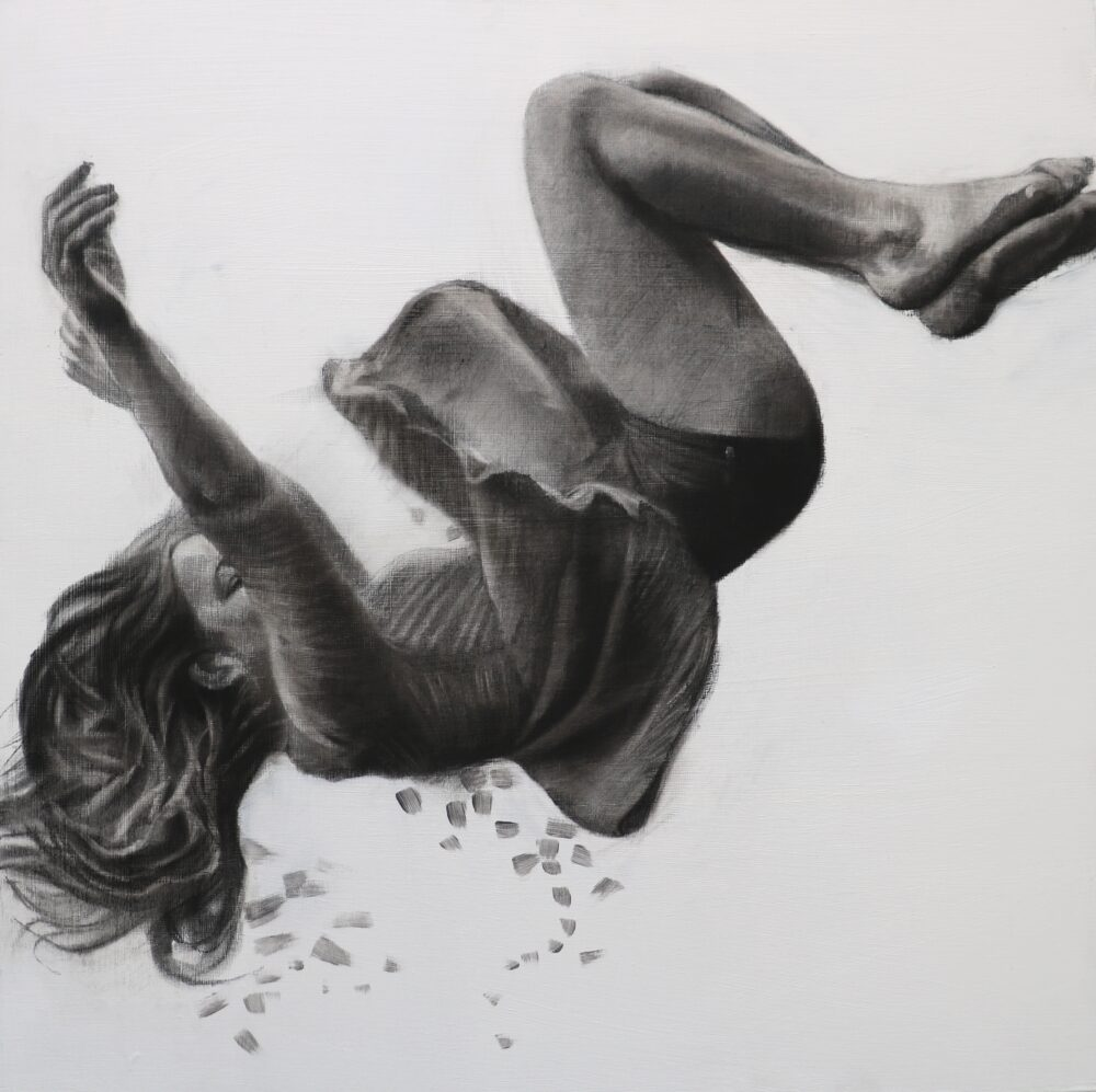 Tumble II, 60cm x 60cm, Charcoal and gesso on panel, 2018